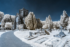 Landscape of Christ Church (James Etchells) Tags: frome somerset unfrared ir photography urban town church surreal landscape landscapes graveyard grave yard light dark colour color christ tree trees nature natural world past sky stones historic