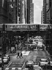 Crossing Washington (mhoffman1) Tags: cta chicago outofchicago sonyalpha blackandwhite monochrome pedestrians street streetphotography traffic train illinois unitedstates us city downtown urban
