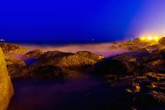 ...by three light bulbs (Fnikos) Tags: sea water mar mare waterfront beach coast shore rock sky skyline seascape bulb light night nightview nightshot outdoor