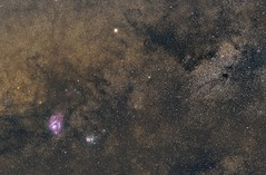 saturne_lagune_trifide_9juillet_135mm (stefg1971) Tags: astro lagune trifide m8 m20 saturne voie lactée milky way a7riii astrophotography night stars samyang rokinon 135mm