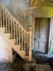 The Old House on Liscabble Road (8) (Feldore) Tags: gortin abandoned house derelict empty farm sperrins northern ireland irish tyrone feldore mchugh em1 olympus 1240mm staircase stairs bannister door spooky
