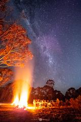 Fire (Joel Bramley) Tags: fire stars milkyway bonfire bush rural country bendigo night blue