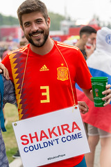Soccer fan wearing a sign with #shakirapique hashtag (marcoverch) Tags: russia weltmeisterschaft reiseblogger fussball wm moskau fifa digitalnomad travel sport reisen football wm2018 russland stpetersburg moskva ru soccerfan wearing sign shakirapique hashtag competition wettbewerb people menschen fusball soccer dragrace race rennen man mann racecompetition rennenwettkampf action aktion trackandfield leichtathletik championship meisterschaft flag flagge autoracing autorennen rally rallye outdoors drausen flying spider plane macromondays ciel countryside flickr wings fujifilm noiretblanc