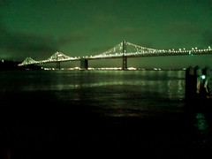 (sftrajan) Tags: night filter noche theembarcadero sanfrancisco california baybridge photodirectorsoftware nuit lightshow green puente bruecke nacht waterfront sanfranciscobay vert verde sanfrancisco–oaklandbaybridge