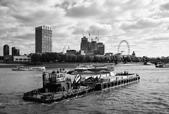 Shakedog (cybertect) Tags: carlzeissdistagont35mmf28mm cityoflondon ec4 gabrielswharf london londonec4 londonse1 riverthames se1 sonya7ii southbank barge blackwhite blackandwhite boat monochrome river