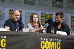 Joss Whedon, Felicia Day & Nathan Fillion (Gage Skidmore) Tags: joss whedon felicia day nathan fillion dr horrible sing along blog reunion san diego comic con international 2018 convention center california