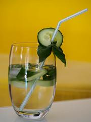Erfrischung gefällig- Refreshment complacent- (mohnblume2013) Tags: basilkum gurke getränk wasser erfrischung sommer drink glas strohhalm lebensmittel