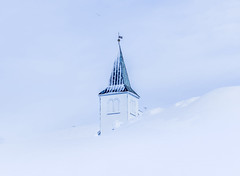 How to go to church in winter? (Sizun Eye) Tags: arctic march 2018 snow church belltower white sizuneye norway honningsvåg fnnmark nikond750 tamron2470mmf28 roof winter