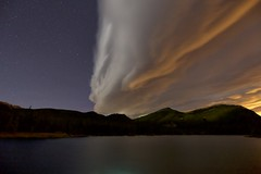 Chinook Cloud (John Andersen (JPAndersen images)) Tags: alberta chinookcloud fall forest forgetmenotpond highway66 kananaskis lake moon mountains night reflections