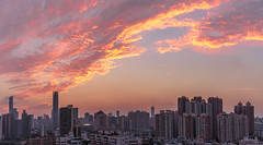 The Fire dragon kissing the skyscraper (kevinho86) Tags: panorama canon canton city cityscapes colour eos6d skyline 空·雲の寫真 空 全景 cloudy sky sunset 35mm urban 雲 magichour ontheroof 城市 珠江新城 pearlrivernewtown 天空 guangzhou landscape scenery scape downtown 建築 twilight wideangle 天際線 art 都會