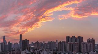 The Fire dragon kissing the skyscraper