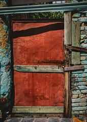 Shkoder (Leaning Ladder) Tags: shkoder albania doors crusty weathered orange blue canon 7dmkii leaningladder