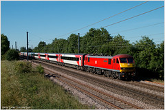 DB for LNER (Resilient741) Tags: class 90 db dbc cargo schenker great train robbery driver jack mills skoda electric loco locomotive hauled passenger ecml lner london north eastern railway east coast main line pole photo lincolnshire granthm ponton little