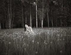 Smiling in the field (Geir Bakken) Tags: mamiya rb67 ilford ilfordsfx200 film analog blackandwhite woman portrait norway asian thai perfectbeauty dandelion field trees
