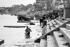 Ganges (Mathijs Buijs) Tags: ghat ghats people cleaning washing water buffalo polluted ganga ganges river indian city varanasi uttar pradesh northern india asia canon eos 7d men blackandwhite