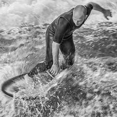 the turn (stevefge) Tags: 2018 deutschland duitsland germany munchen sport surfing surfplank balance men water candid people splash blackandwhite bw monochrome zw zwartwit unsuspectingprotagonists reflectyourworld