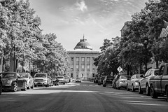 North Carolina State Capitol (Shawn Blanchard) Tags: north carolina nc state capitol black white bw monochrome trees car street road clouds sky dome window building historic architecture
