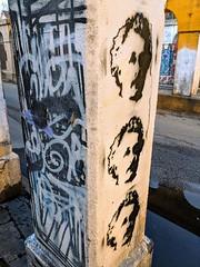 Three Einstein stencils on a post (hansecoloursmay) Tags: stencil streetart 606 einstein graffiti