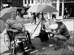 Caricaturist (exreuterman) Tags: street candid bw artist caricaturist subject seated disabled legless canterbury kent