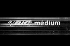 BIC Medium - plastic (Ghazghul) Tags: bic pen plastic macro d300s sb800 macromonday sigma sigma105mmf28exdg 105mmf28exdg bw nikon white black flash strobe