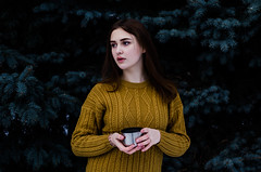 Daria Gladchenkova (ivan_volchek) Tags: people outdoors nature portrait winter tree cold park beautiful fall wear season wood sweater girl solo cup toning colour forest