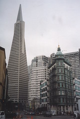 San Francisco California - Columbus Tower aka Sentinel Building - Transamerica Pyramid Building (Onasill ~ Bill Badzo) Tags: san francisco ca california downtown columbus tower building sentinel aka triangle flatiron coppola family copper green exterior sidings tin kearney street chinatown littleitaly 1907 attractionsite walking tour onasill cone hat witcheshat historic nrhp district architecture city skyscraper window sky transamerica pyramid landmark symbol