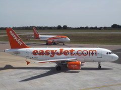 Easy Jet's G-EZIV Airbus A319  With G-EZFT Airbus A319 (Aircaft @ Gloucestershire Airport By James) Tags: luton airport geziv airbus a319 with gezft easyjet airline copmany ltd eggw james lloyds