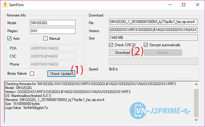 Tiến hành download firmware Samsung