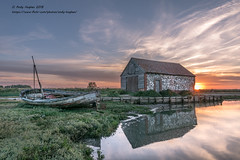 The old Coal Barn and boat at sunset. (viewfinder.general) Tags: thornham fullmoon hightide
