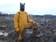Yellow muddy doggie 4 (kari1888) Tags: rainwear raingear gear muddy rubber boots doggie fetish mittens gloves