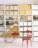 White Industrial Racks (Heath & the B.L.T. boys) Tags: organize marthastewart white storage industrial shelves desk chair wood typewriter twine red