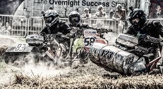 Lawnmower racing action
