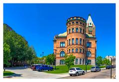 Brockton City Hall (Timothy Valentine) Tags: 2018 building 0718 brick clock large sky panorama spire turret brockton massachusetts unitedstates us