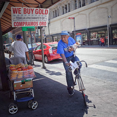 bicycle built for two with surround sound (Maureen Bond) Tags: ca maureenbond bike dog man street losangeles sign food hat bicycle onthestreets radio downtown littledoglaughedstories