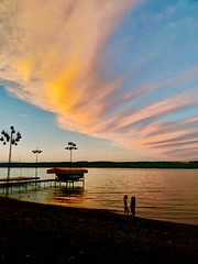 Amazing photo of the twins on Lake Cayuga tonight, one lake over from ours (dionhinchcliffe) Tags: moblog iphonepics