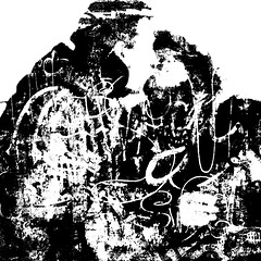 a tender kiss II (j.p.yef) Tags: peterfey jpyef yef bw sw monochrome square photomanipulation people pair man woman kiss abstract text bold