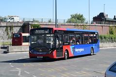 WOB 210 @ Warrington bus station (ianjpoole) Tags: warringtons own buses alexander dennis enviro 200mmc yx18ktt 210 working route cat5 warrington bus station altrincham interchange