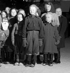 Christmas (theirhistory) Tags: children kids boys pupils students girls jacket shorts shoes wellies jumper hat coat rubberboots