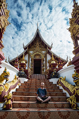 Stairway to Wat Rajamontean (Matt Molloy) Tags: mattmolloy photography watrajamontean buddhist temple building exterior sculpture darkred gold stairs door entrance decoration detailed intricate lines sky clouds art architecture religion oldcity chiangmai thailand lovelife