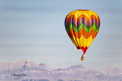 The Balloon (Canon Queen Rocks (2,150,000 + views)) Tags: scenery scenic landscape hotairballoon colours green reds orange yellow mountains alberta canada calgary