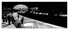 Steppin' out (david.hayes77) Tags: panorama monochrome bw blackandwhite york contrast yorks yorkshire yorkstation 2018 silhouette contrejour passenger platform3