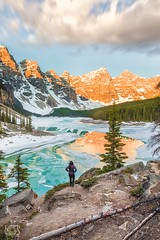 First lights at Moraine Lake (bgspix) Tags: ab alberta amazing bgspix blue canoneos5dmarkiv ef1635mmf4lisusm emerald frozen lake landscape moraine morainelake mountain nature outdoor reflection rockies sun sunrise travel
