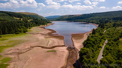 Dried up reservoir (WhitcombeRD) Tags: welsh dry parched bridge brecon llwyn water lake south reservoirs empty southwales hot national wales above drone dusty llwynonn aerial dust breconbeacons summer park llwynon pontsticill beacons reservoir hirwaun unitedkingdom gb