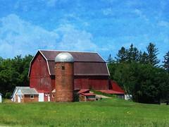 Red Barn in oils edit (novice09) Tags: barn farm fotosketcher ipiccy silo textures