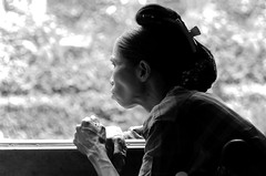(cherco) Tags: woman train blackandwhite blancoynegro hair myanmar light luz holidays lonely alone framing travel window composition composicion monochrome canon city ciudad 5d mujer markiii silhouette solitario portrait