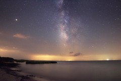 Milky Way over Delaware Bay (Douglas Heusser Photography) Tags: east point lighthouse nj new jersey beach stars star mars planets milky way cosmos summer july galaxy band canon astrophotography astronomy long exposure night sky skyscape rokinon 14mm lens heusser photo