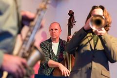 Jazz bank 'Paul Teschner's Love Orchestra' playing at Berlin's 'Club der Polnischen Versager'. (Phototravelography) Tags: berlin clubderpolnischenversager deutschland germany mitte concert doublebase jazz music musician saxophone trumpet