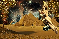 Mirage - By SilviAne Moon (Silviane Moon) Tags: desert egypt digital photomanipulation digitalart fiction futuristic scifi space stars surreal surrealart universe surrealcollage art silvianemoonart digitalpainting pyramid society6 surrealism surrealistic silvianemoon