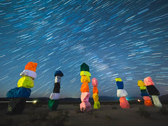 Seven Magic Mountains by Ugo Rondinone - near Las Vegas, NV (Jun C Photography) Tags: ugorondinone jean mk2 microfourthirds omd milkyway moonrise sandiego moon sloan sevenmagicmountains u43 night longexposure em5 nightphotography mft lasvegas olympus nightsky startrails nevada markii henderson jeandrylake mkii
