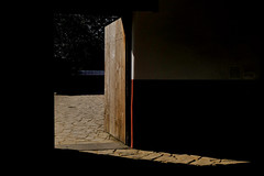 58074517 (felipe bosolito) Tags: shadow light door gate sun entering transition simple minimalism dark black wood stone red white evening geometry apx xanten fuji xt20 xf1855 velvia